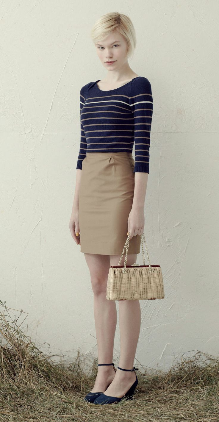 Betina Lou S/S 013 Collection - Knit sweater Nico Navy/Taupe & Nanette Skirt Beige