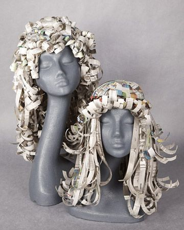 Paper Wigs Headpiece  Make these paper wigs for a fun and easy way to add to your Halloween costume.