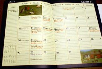 Monthly Bills Calendar with storage for unpaid bills each month