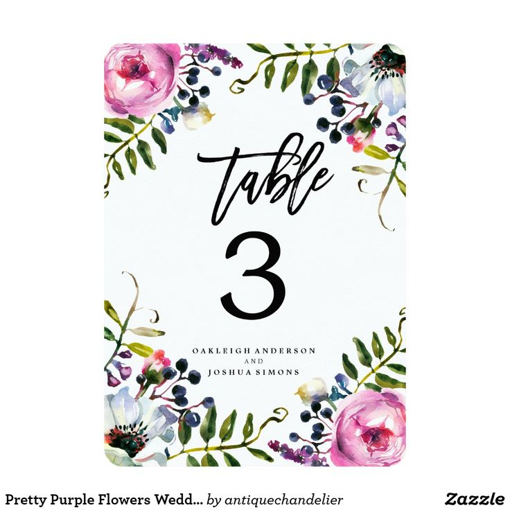 Purple Wedding Ideas With Pretty Details: Pretty Purple Flowers Wedding Table Number Cards