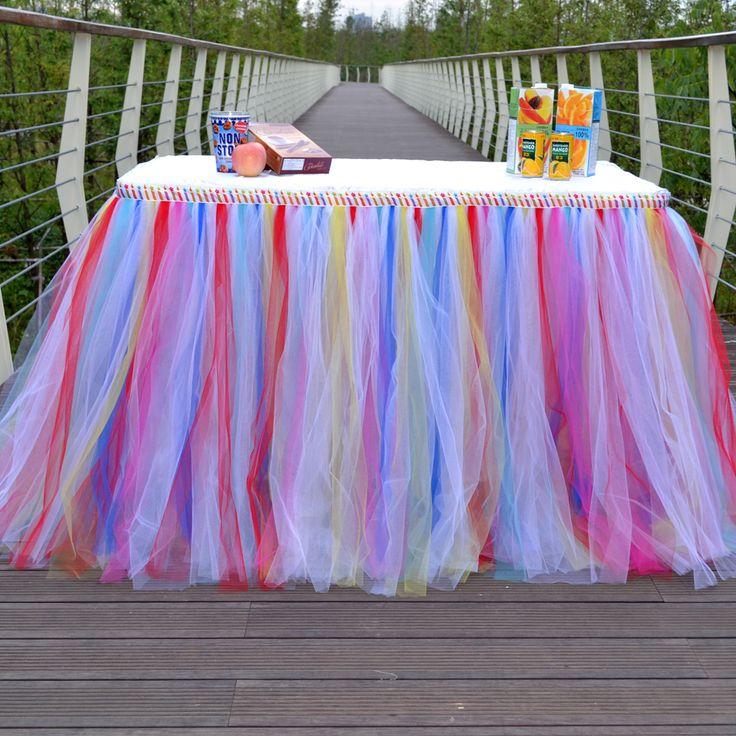 100% Nylon Table skirt  Mixed color faldas de tul tulle tutu table skirt Wedding Birthday Party Faldas del tutu de tul de mesa #Affiliate