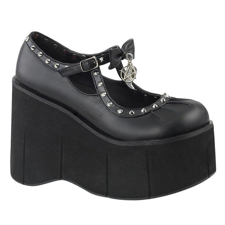 Demonia Kera-14 Women's Mary Jane Ankle Strap Platform Wedge Loafers
