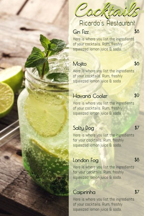 Printable Bar Cocktail Menu Template Green Cocktail Menu Menu Card Design Menu Card Template