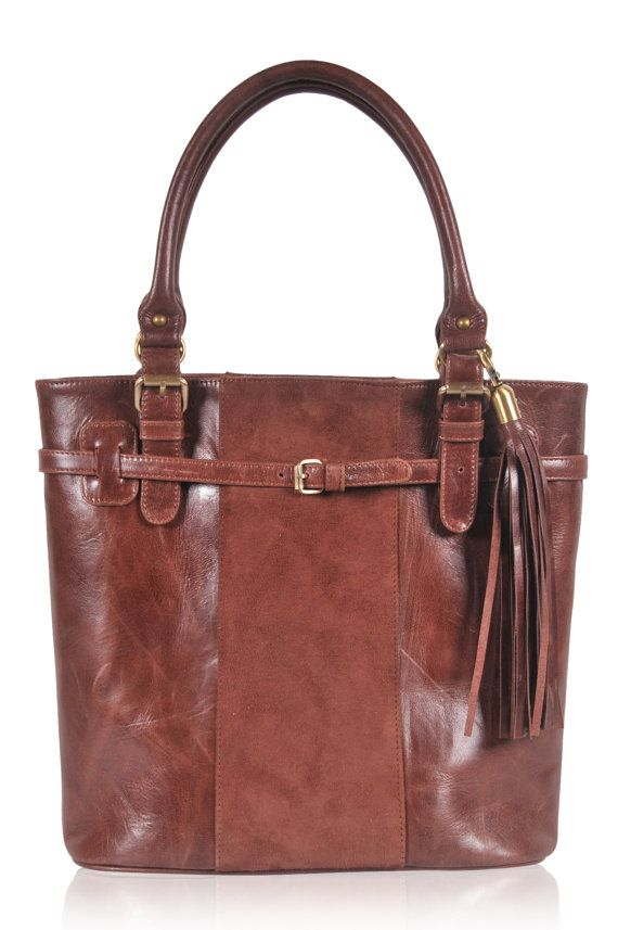 PHOEBE. Vintage brown leather tote / shoulder bag / by BaliELF