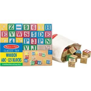 Melissa & Doug 50-piece Wooden ABC/123 Blocks Set - 50 Traditionally Styled Alphabet Blocks - Hand Painted - Letters and Numbers CLASSIC TOYS BLOCKS