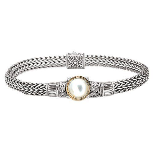 Enchanta Collection Sterling Silver & 18K White Mabe Pearl Bracelet Jewelryimpressions. $439.00. 18k Gold Accents. Genuine Stones. .925 Sterling Silver. Designer Style. Packaged in a Box