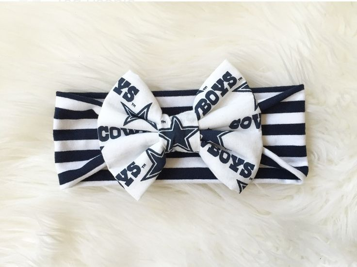 "Made to order, Dallas Cowboys print bow on a navy and white stripes fabric headband. **This bow does not have stuffing like our ""Slightly Puffy Never Obnoxious"" Bows. Purchase the matching leotard her"