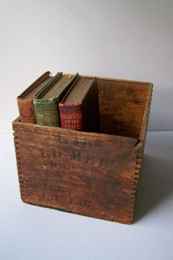 Antique Wooden Box Rustic Farmhouse by lovelyhomevintage on Etsy