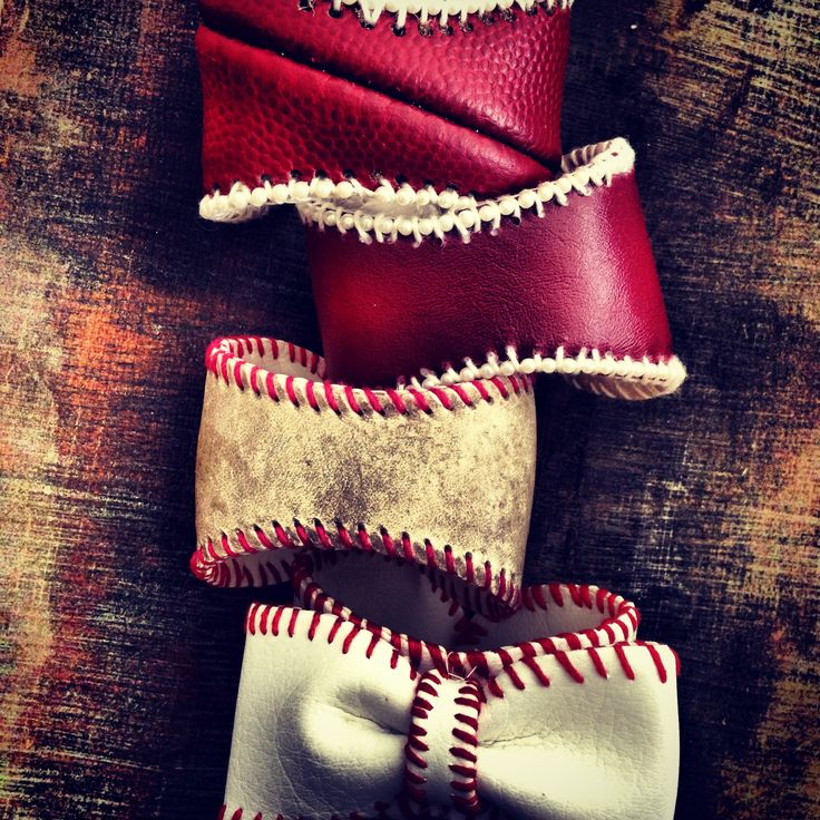Sports Cuffs: Basic Footballs: Rutgers Red, Aggies, Baseball: vintage baseball and bowtie baseball sport cuffs! These are basic styles of the cuffs! Lisa Kettell Designs/Sports Cuff World c.2005-2013