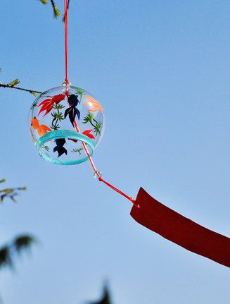 Hand made glass wind bell ,Japanese Wind Chime windbell-six fish