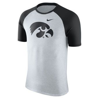 Nike Iowa Hawkeyes Natural Oatmeal Jersey Hook Tri-Blend Raglan T-Shirt