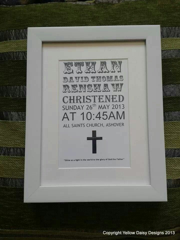 "Christening print.  6 x4"" print.  £13 plus p & p.  Any other occasion can be done to.  Available to buy from www.facebook.com/yellowdaisydesigns."