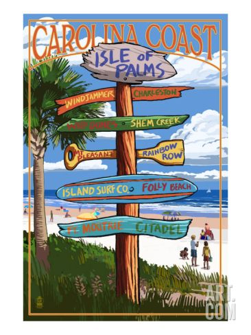 Isle of Palms, South Carolina - Destinations Sign Art Print at Art.com