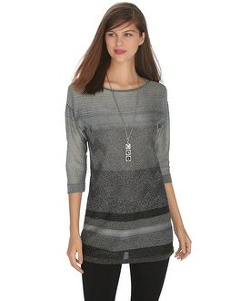 White House | Black Market 3/4 Sleeve Lurex Tunic Pullover #whbm