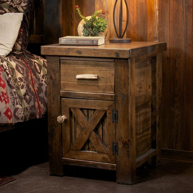 Antler and Barnwood Rustic Nightstand