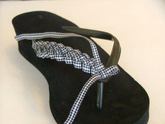 how to make ribbon-braided flip flops! Fun idea!