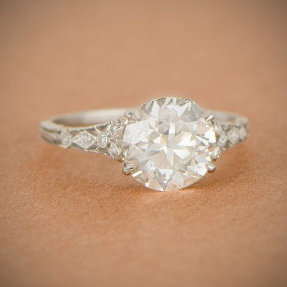 Rare Edwardian Engagement Ring Antique by EstateDiamondJewelry