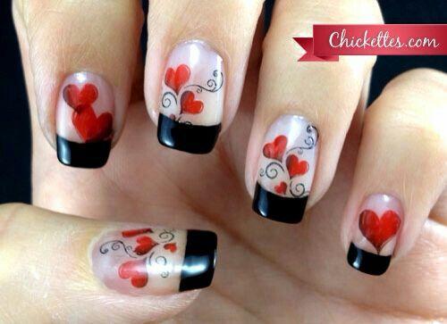 Holiday nail design. Valentine's Day nail art. Hearts nail art.