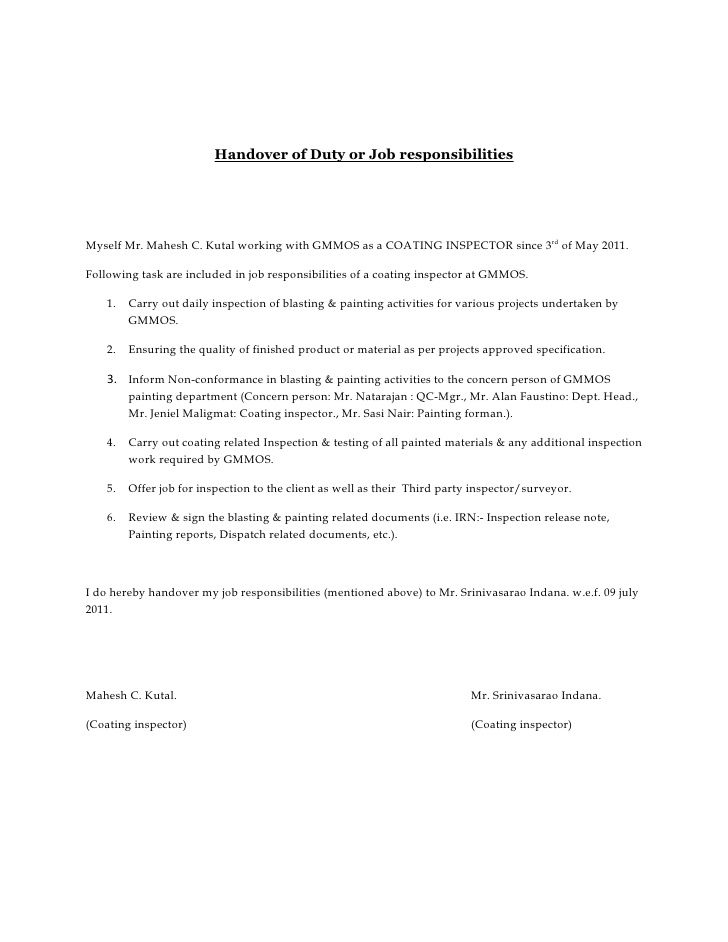 Image result for handing over job responsibilities letter