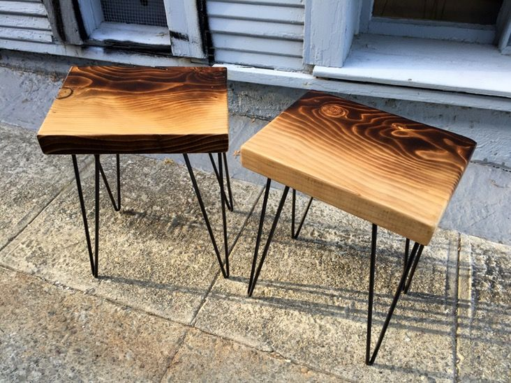 Up for sale is this set of torched Deodar Cedar wood end tables. Deodar Cedar is a beautiful wood with lively grain and a great natural fresh scent. I've lightly torched the wood with an ombre...