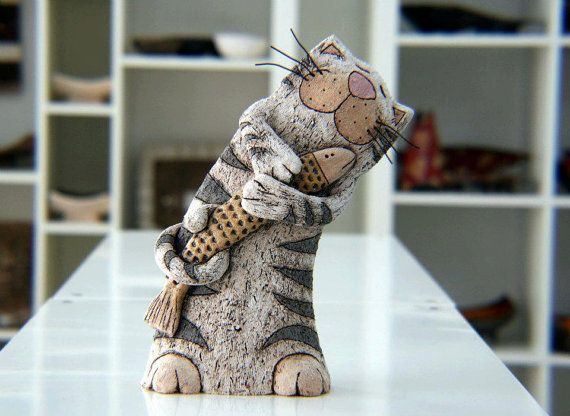 Pottery and Ceramic, Cat Sculpture, Pottery Cat, Ceramic Cat, Art decor, Animal sculpture, Home Decoration, Handmade Clay Cat, Fun Cat