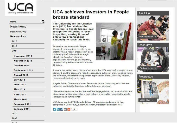 University for the Creative Arts achieves IIP Bronze