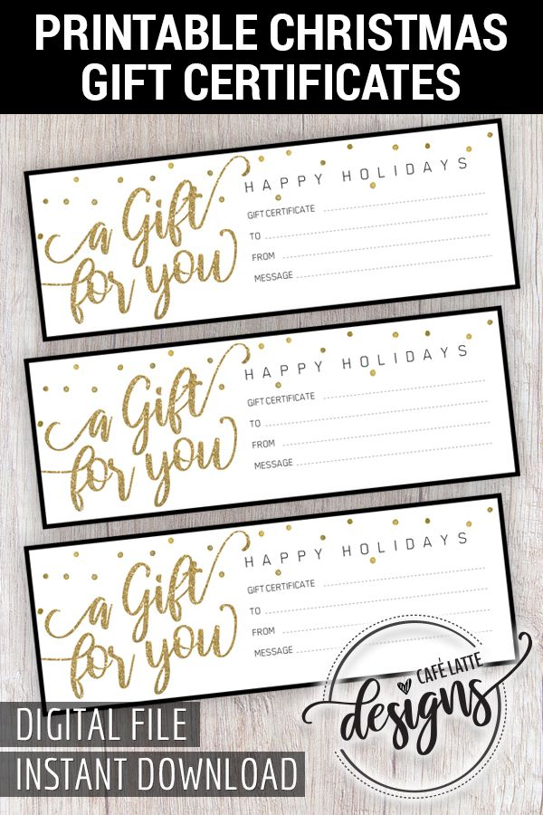 Christmas Gift Certificate Gift Certificate Printable Gift Coupon Gift Instant Download Gift Idea Holiday Gift Black Gold Gift Card Christmas Gift Certificate Template Christmas Gift Certificate Printable Gift Certificate