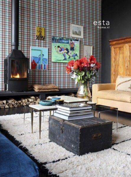 Vliesbehang ruiten rood, groen & bruin #madras #woonkamer #vintage #behang #livingroom