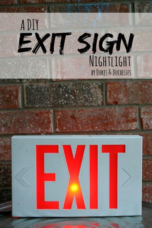a DIY exit sign nightlight made by repurposing a scentsy warmer