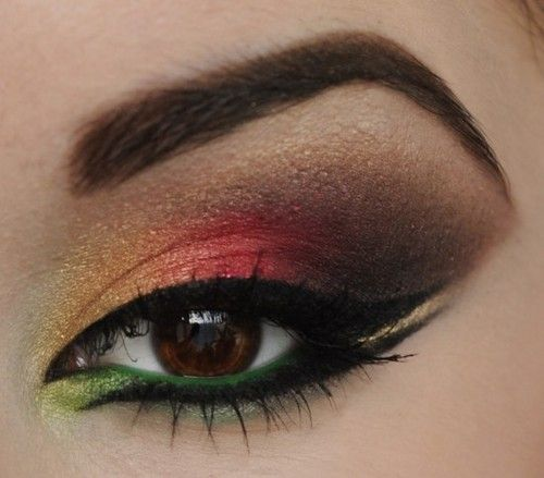 Crazy colour eye makeup would contrast so well with the wedding dress!!