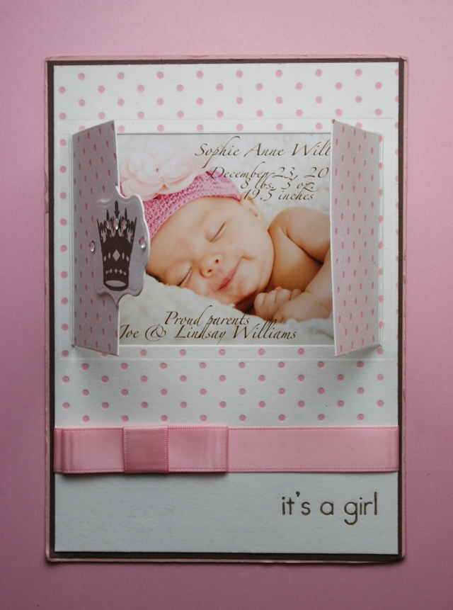 "Sweet Pink ""It's A Girl"" Birth Announcement Idea...how cute would this be to send out upon the birth of a child.  Love the window idea!   Lifestyle Crafts."