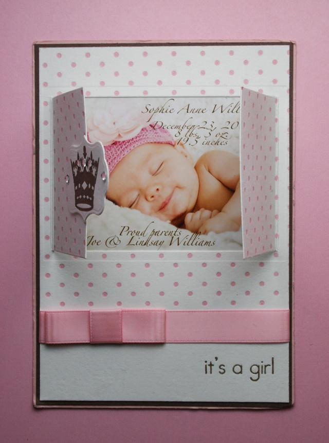 So cute (good idea): Good Ideas, Baby Cards, Window Ideas, Cards Baby Kids, Ideas Repin, Girls Births Announcements, Baby Girls Announcements Cards, Welcome Baby Girls, Baby Announcements Cards Ideas