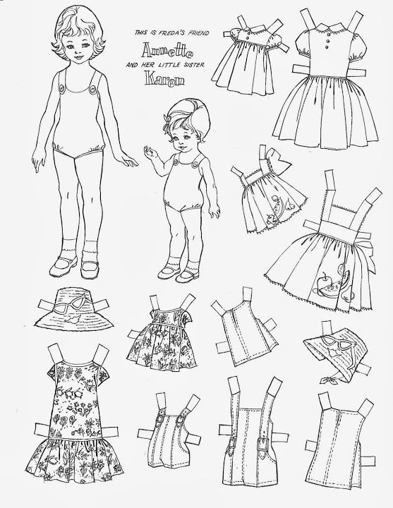 58 best Coloring Paper Dolls images on Pinterest | White paper ...