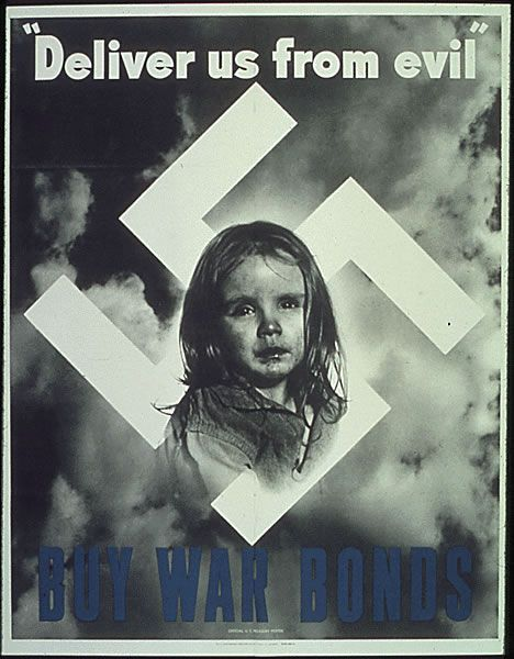 This poster shows a little girl who is under the power of the German Nazis. It encourages Americans to purchase war bonds to show that you support the US army and help them defeat the Germans and win the war. It would help the eventually save this little girl.