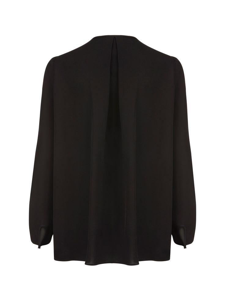 Siyah Şerit Dantel Ayrıntılı Fırfır İpek Bluz