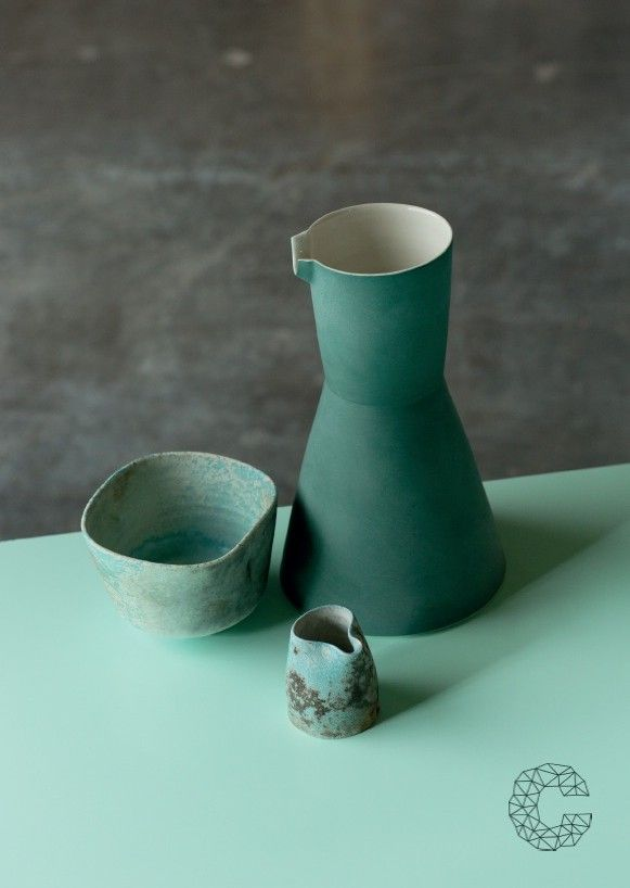 Carafe by Derek Wilson, Cafe Ceramics by Jack Doherty, photo by Peter Rowen