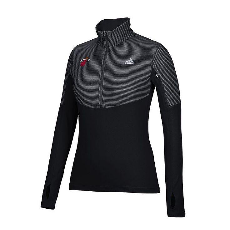 Women's Adidas Miami Heat Team Logo 1/2-Zip Pullover, Size: Medium, Black