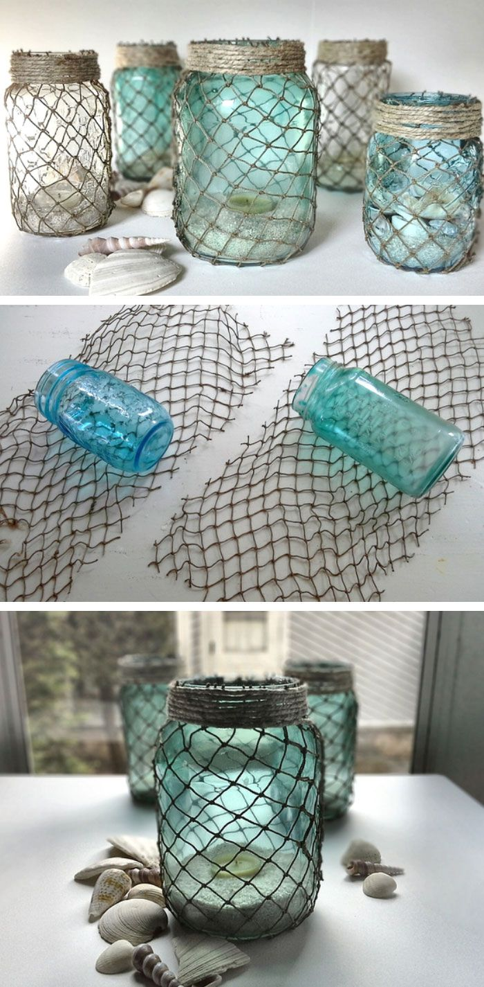 Decorative Fisherman Netting Wrapped Jars   Click Pic for 21 Easy DIY Mothers Day Gift Ideas in a Jar   DIY Gifts in a Jar for Friends