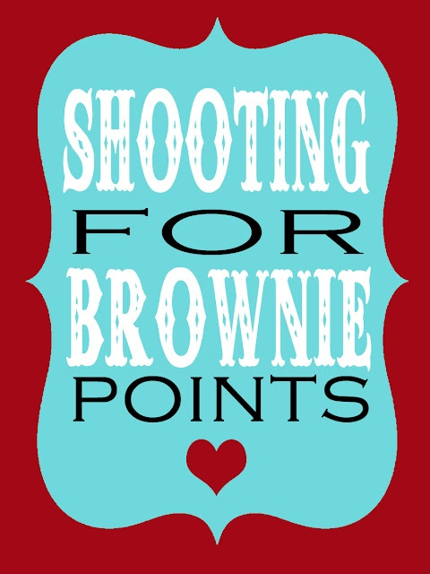 Shooting for brownie points gift tag for teachers gifts attached to brownies or brownie mix.