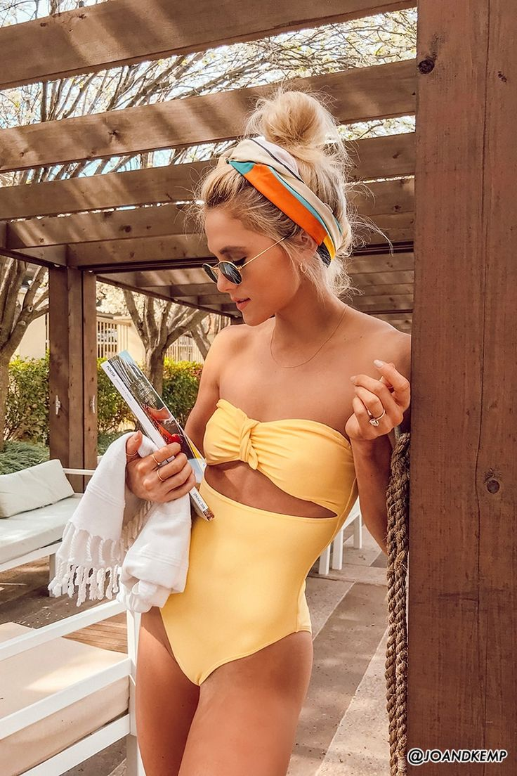 This one piece swimsuit is just so cute! Love the gold yellow color and the bow …