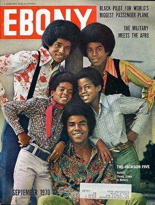 The Jackson 5 on the cover of Ebony September 1970 (Jackie Jackson, Tito Jackson, Jermaine Jackson, Marlon Jackson, and Michael Jackson. )