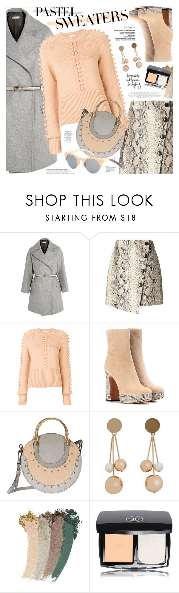 """""""So Sweet: Pastel Sweaters"""" by katjuncica ❤ liked on Polyvore featuring Banana Republic, Alexandre Birman, Chloé, MANGO, Gucci, Chanel and pastelsweaters"""