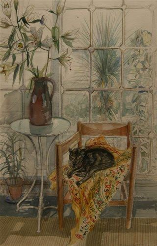 """Cat and Lilies"" by Richard Bawden (watercolour)"