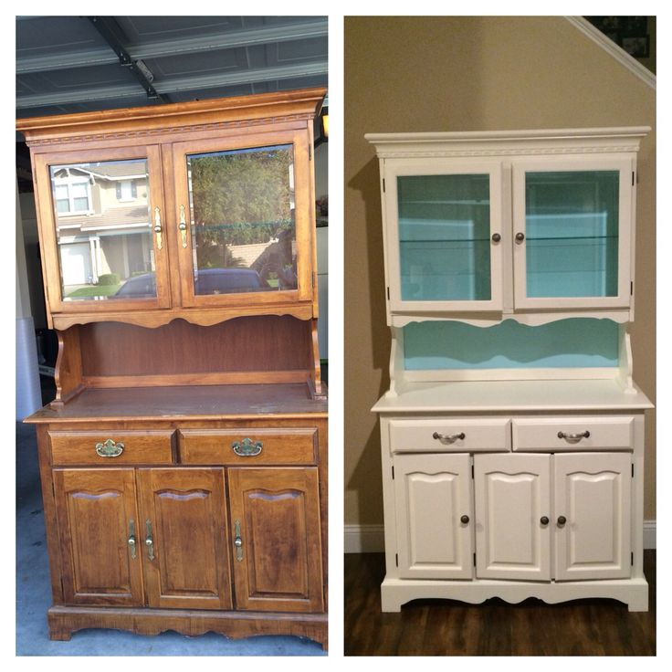 Before and after! Sanded down this beautiful wood hutch and painted Satin based Apple Core with accented Sea Breeze Teal (Behr Premium Plus). Finished it off with satin nickel hardware