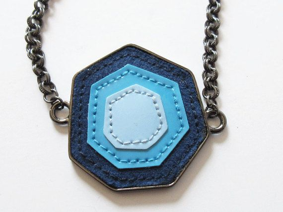 Statement Necklace with Shades of Blue Pendant and by artsix
