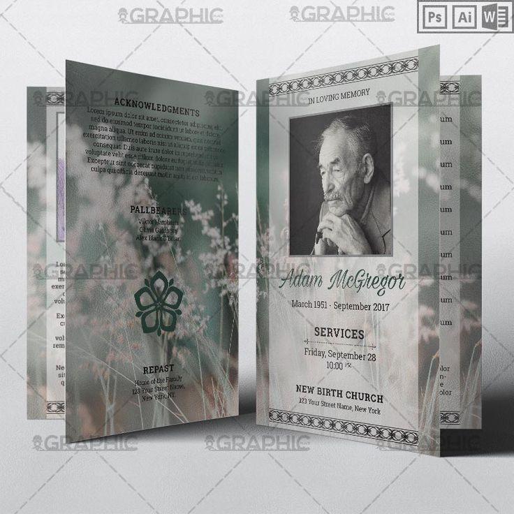 Funeral Program Bi-fold Brochure Template