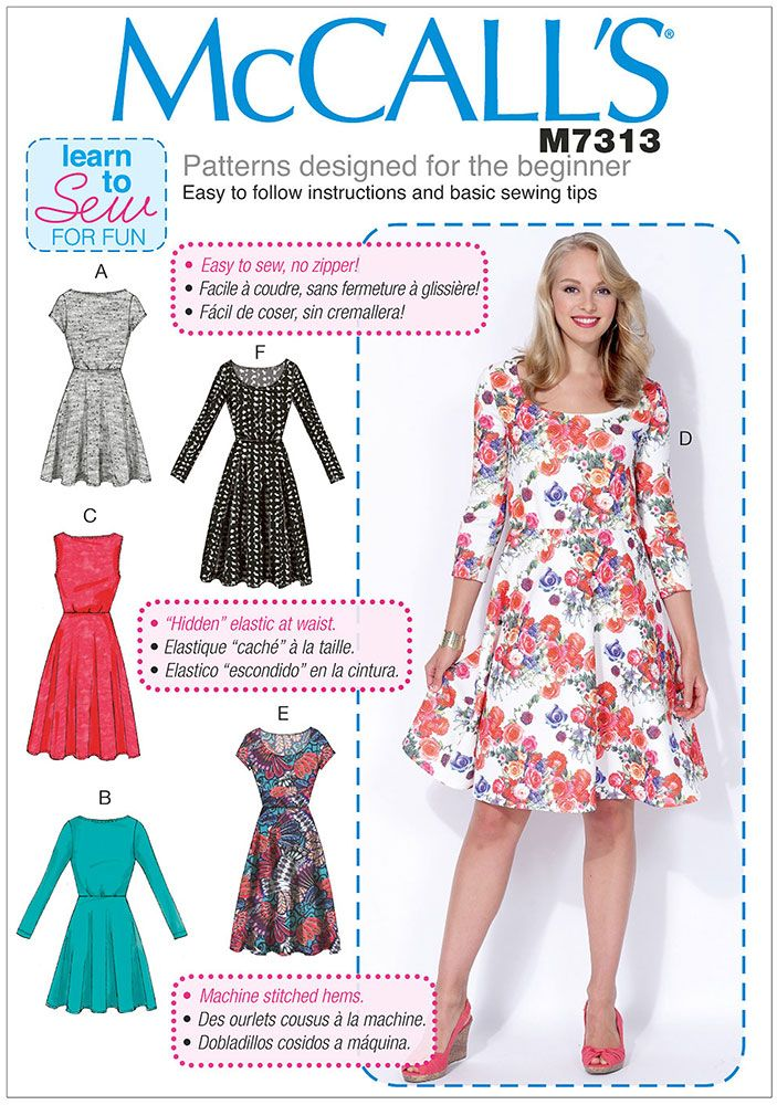 Misses and Womens Flared Dresses McCalls Sewing Pattern 7313.