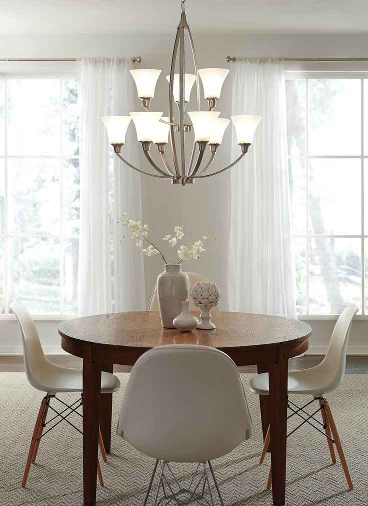 From delmarfans com · the soft curves give the transitional sea gull lighting metcalf energy star chandelier its clean dining room