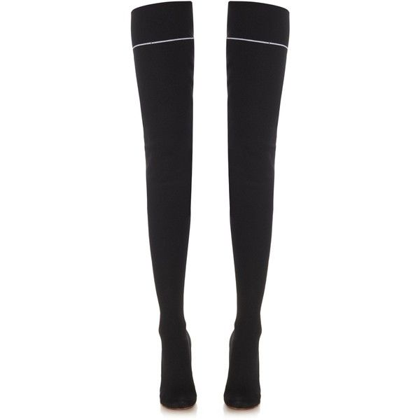Vetements Over-the-knee sock boots ($1,775) ❤ liked on Polyvore featuring shoes, boots, calf length boots, floral-print boots, floral boots, black boots and above-knee boots