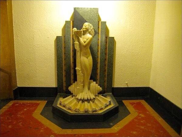Fountain with Statue named Cleo inside The Pickwick Theater, Chicago